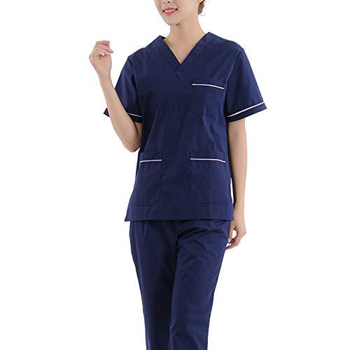 Medizinische Kleidung Medizinische Kleidung mit V-Ausschnitt Anzug Zahnklinik Service Krankenschwester Uniform Schlanke medizinische Kleidung Top + Hosen Arbeitskleidung Outfit,Short,L