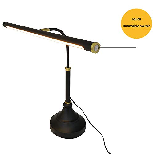 HomeFocus LED Piano Desk Table Lamp,Reading Desk Table Lamp,Study Lamp,Touch Dimmable,Adjustable Height, Multi-Functional,Metal,Black +Bronze,LED 5W,3000K,Play Piano,Reading Or Office Working,Eye Ca
