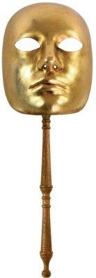 Karneval - Halloween - venezianische Maske - Stabmaske - Volto oro con bastone