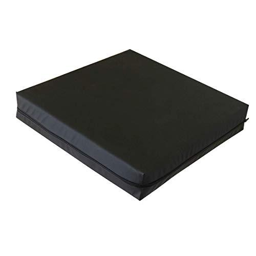 PEPE-COJÍN Antiescaras (42x42x8 cm), Cojín Silla Oficina, Cojín Lumbar Silla de Ruedas, Cojín Antiescaras Viscoelástico, Cojín Silla Exterior Color Negro