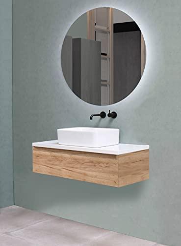 Conjunto de Mueble Modelo Ocean Suspendido y Anclado a Pared (80cm), Encimera hidrófuga, Lavabo de Porcelana y Espejo LED para Baño