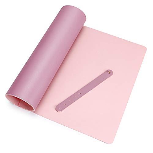 BSTKEY Alfombrilla de Escritorio Ratón de Piel Sintética Multifuncional Impermeable de Doble Colores para Uso en Escritorios Ultra Delgada 2 mm para Oficina Hogar, Color Rosa+ Malva(90*40 cm)