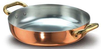 Pentole Agnelli ALCU11036 Tegame in Rame liscio stagnato a mano con 2 Maniglie in ottone, 36 cm