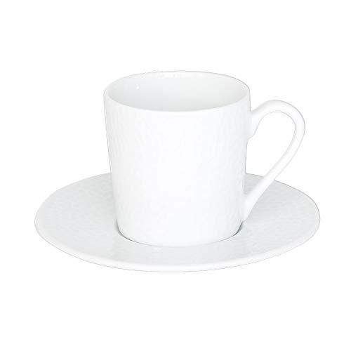 Table Passion - Tasse à café 12 cl et sa soucoupe louna relief blanc