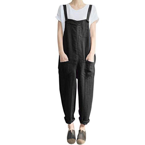 Women's Casual Jumpsuits Overalls Baggy Bib Harem Pants Playsuit Trousers Cotton Linen Dungarees (Black, S)