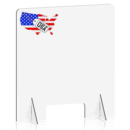 NTELLIMADE Sneeze Guard, Plexiglass Shield for Desk Counter and Table, Freestanding Clear Acrylic Shield, Plexiglass Barrier