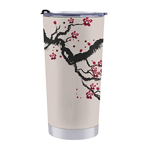 Taza de viaje de doble pared de acero inoxidable de 20 onzas con tapa a prueba de salpicaduras sin BPA, simple y elegante flor de cerezo amor