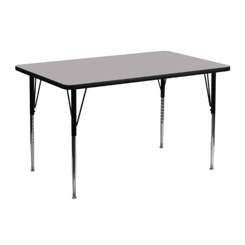 Flash Furniture 24''W x 48''L Rectangular Grey Thermal Laminate Activity Table - Standard Height Adjustable Legs
