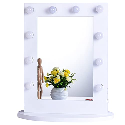Chende Hollywood Vanity Mirror with Lights, 25.6'' x 19.7'' Large LED Makeup Mirror with Outlet and Dimmer, Gloss White Lighted Mirror for Wall or Tabletop , Included Replaceable LED Bulbs