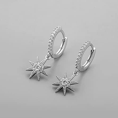 Pendiente Dangle Star Pendientes de aro Microincrustaciones de Regalo SilverColor