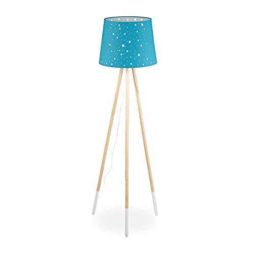 Relaxdays Stehlampe Kinderzimmer, E27, mit Kabel, Lampenschirm Stern-Motiv, Dreibein, Stoff, Holz, 147 cm hoch, blau, 10032244_45