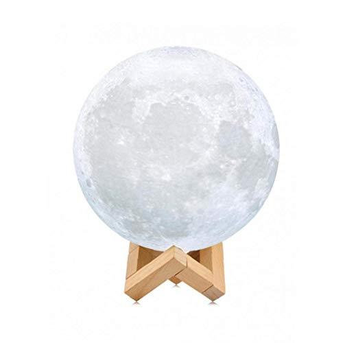 Hiinice Lámpara Luna Llena Luna luz de la Noche para el Dormitorio de Noche los Ojos Cuidado Ajustable con la batería de Madera Regalo 11 cm (1PC, Blanco)