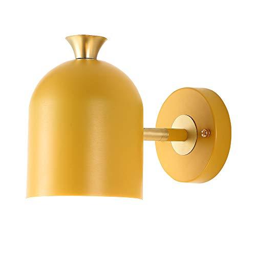 Lámpara de Pared Giratorio E27, Nórdico Macaron Aplique de Noche, Cálida Pared Luces Adecuado Para Dormitorio Sala de Estar Cuarto Estudiar Pared del Sofá Pasillo Oficina Balcón Comedor,Amarillo