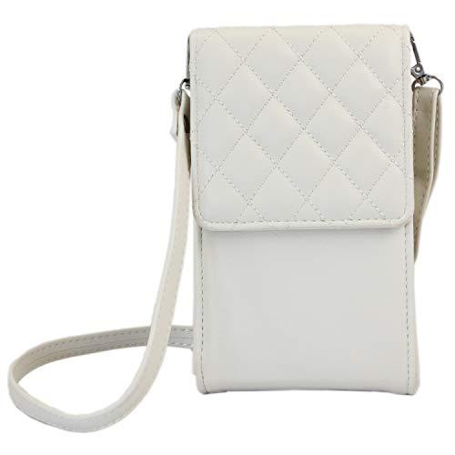 irisaa kleine Damen Umhängetasche Schultertasche - Crossbody Handtasche Geldbörse Handy Mini-Tasche Brieftasche mit Verstellbarem Schultergurt, Elegant Karo, Damen Tasche:Beige