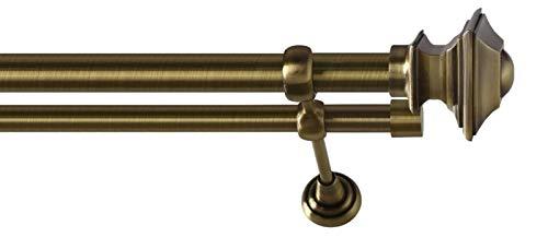 2-läufig Gardinenstange Vorhangstange Satz 25/19mm Metall in Messing Antik Farbe BAROCCO 360 cm