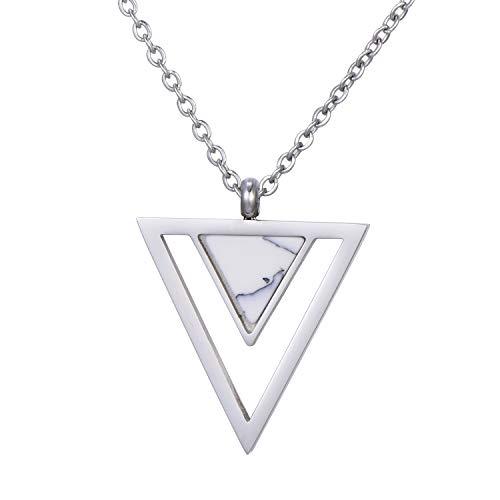 Morella Collana da Donna in Acciaio Inox Argento con Ciondolo Doppio Triangolo Bianco in Sacchetto di Velluto
