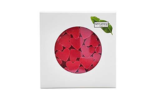 terranea Pflanzenölseife mit Mandelmilch Mini Mini Herzen Lotus Seife - ideal als Geschenk, zur Hochzeit, als Gästeseife, Gastgeschenk - Vegan, rein pflanzlich - 100g in der Box verpackt (1)