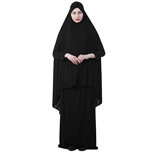 Vestido de oración musulmán para mujer, vestido de oración islámico musulmán Bata Hijab de cuerpo entero Ropa musulmana Chales largos Hijab Body Cove Bufanda Hijab Vestido islámico Abaya de dos piezas
