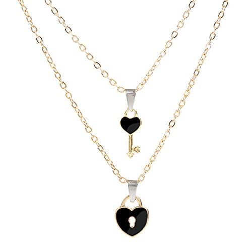 oshhni 2 Piezas de Collares con Colgante de Pareja, Cadena de Clavícula en Forma de Corazón Romántico para Mujeres, Hombres, Vacaciones, Aniversario, Trabajo - Negro