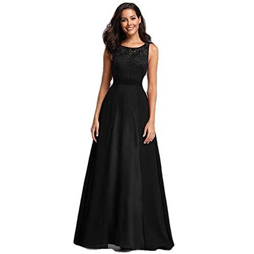 Elegantes Vestidos de Fiesta Largos para Mujer Sa-Line sin Mangas con Cuello Redondo Gasa Encaje Vestidos de Fiesta de Noche-Black_22, LIFU, Negro