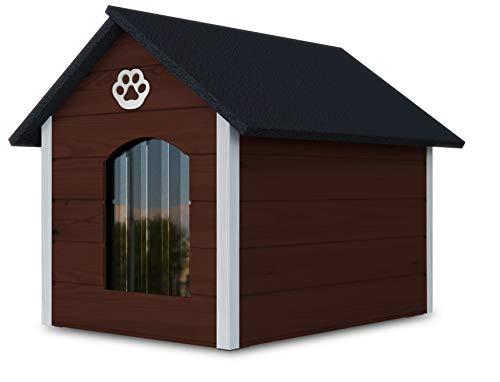 Novamat - Caseta para perros de madera - Casa acogedora y elegante para su perro con paredes aisladas - Resistente al agua - Tamaño XL (XL, marrón - blanco) (marrón - blanco) (marrón - blanco)