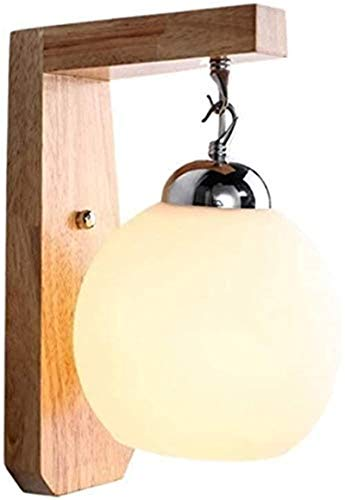 Aplique de pared industrial LED, Japonés E27 Luz de pared interior Luz de madera moderna Lámpara de bolas de vidrio Lámpara de pared Shade Lámpara de pared Dormitorio con cable Decoración de la pared