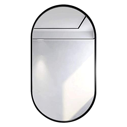 Espejos de Baño Redondos Pared,Espejo de Pared para Dormitorio Espejo Ovalado de Pared de Cuerpo Entero, Espejo de Maquillaje Resistente al Agua HD, Esquina Redondeada, Marco de Metal Decorat
