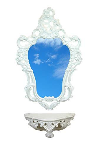 Ideacasa - Étagère console blanche + miroir blanc, meuble mural, style baroque imitation Louis XVI, vintage, ameublement entrée