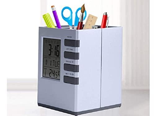 Portapenne Con Sveglia Orologio Calendario Termometro, Portaoggetti da Scrivania