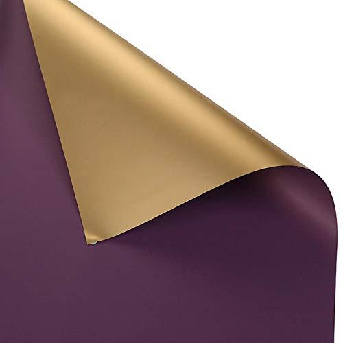 5 stks/set 60 * 60 cm luxe gouden bloem inpakpapier waterdicht papier diy perfecte geschenkverpakking bruiloft decoratie, diep paars