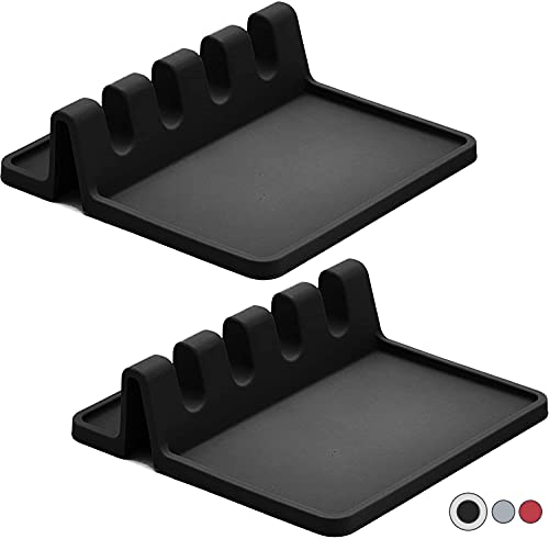 Silicone Spoon holder for Stove Top with Drip Pad (Two Pack) - Heat Resistant, BPA Free Utensil Rest & Spoon Rest for Kitchen Counter - Grill Utensil Holder for Spatulas, Tongs, Ladles (Black)
