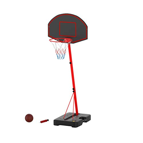 Hey! Play! Junior Basketball Hoop- Portable Backboard System with Two Rim Height Settings, 7-Inch Ball and Air Pump for Youth, Kids & Toddlers