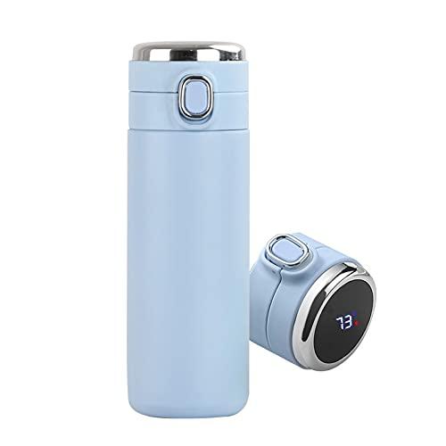 YINYANG 420ml 304 Acero Inoxidable Termos Frasco Botella de Agua Vacío Aislado Taza Temperatura Pantalla A Prueba de Fugas Taza Taza de la Leche Taza (Color : Sky Blue)