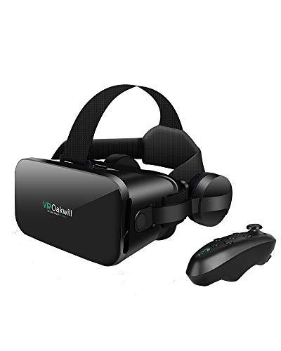 最新改良版VRゴーグルVRヘッドセット VRヘッドマウントディスプレイ 3D スマホVR ヘッドホン付き モバイル型 瞳孔 焦点調節 非球面光学レンズ 4.7~6.5インチスマホ 本体操作可 眼鏡対応 1080PHD高画質 Bluetoothコントローラ付 近視適用 放熱性よい 120°視野角 着け心地よい 4.7~6.5インチiPhone& android などのスマホ対応 日本語説明書付