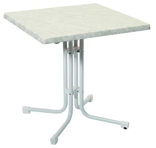 acamp Esstisch Gartentisch Bistrotisch Piazza 70x70 cm weisses Gestell mit Weiss marmorierter Topalit Tischplatte
