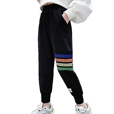 Jogger Pants for Girls Rainbow Stripe Sweatpant with Pocket Elastic Waist Sweat Pants