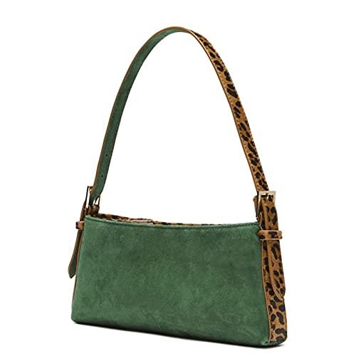 Cslada Bolso baguette Sexy Punk Rok Vintage con correa de hombro de leopardo, bolso axilar, bolso verde con superficie mate, minibolso para las axilas