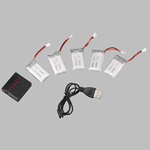 YXDS Batería 5pcs 3.7V 750mAh Batería Recargable Lipo con Cargador + Cable para batería de Repuesto portátil SYMA X5C Quadcopter