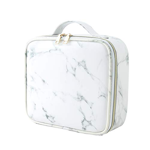 Gloriest Makeup Organizer Bag Travel Case Portable Cosmetic Storage Bag with Adjustable Dividers for Women Makeup Brush Tools Gadgets Gift, Marble White