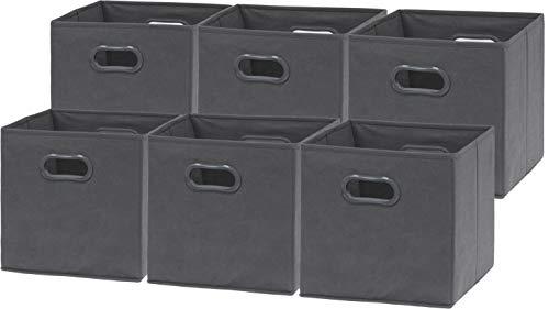 6 Pack - SimpleHouseware Foldable Cube Storage Bin with Handle, Dark Grey (12-Inch Cube)