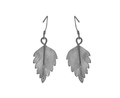 Claire Hawley - Pendientes hechos a mano de plata de ley con hojas de abedul