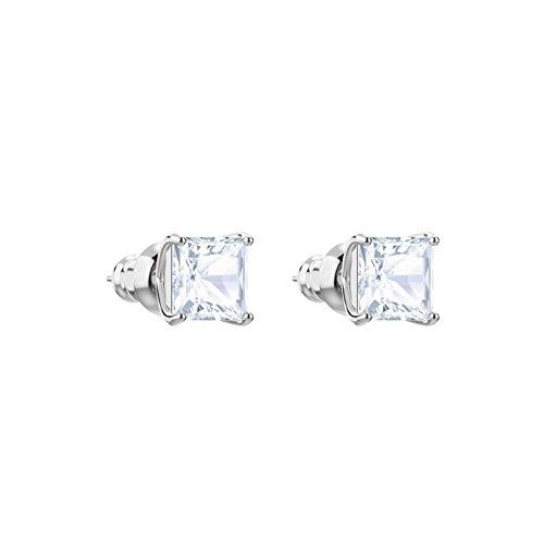 Swarovski Attract Ohrstecker, Weiße und Rhodinierte Ohrringe mit Funkelnden Swarovski Kristallen