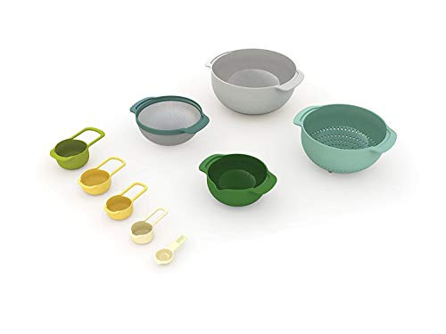 Joseph Joseph Nest 9 Compact Food Preparation Set, Tonal Grey, 9-Piece