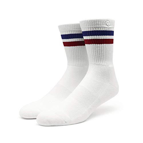 pirit of 76 | Sportsocken mit Streifen | Weiß, Blau & Rot gestreift | Knöchelhohe Skater Tubesocks (47-50)