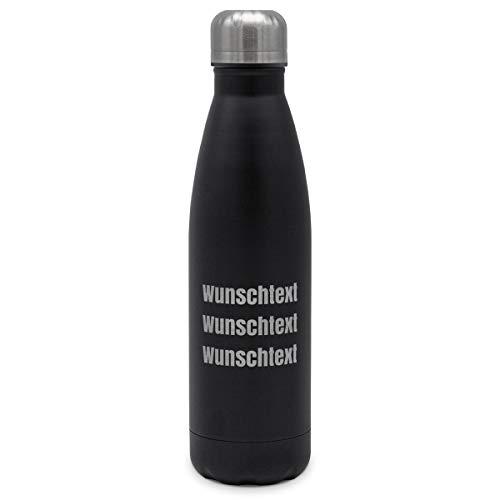 printplanet - Isolierte Trinkflasche mit Text oder Namen graviert - Edelstahl Thermo-Flasche mit Gravur, 500ml - Schwarz - Motiv: 3 Textzeilen