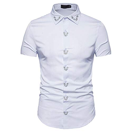 CHENS Lange mouw/casual/maat Zomer Shirt Mannen Plus Size Print Slim Fit Shirt Formele Korte mouw Shirts Casual Tops Wit Kleding