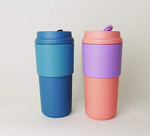 TUPPERWARE Kaffeebecher to go 2X Rosa + Blau, Permanent Kaffee Becher, Unterwegs + Hängelöffel Türkis