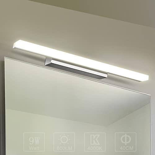 Yafido Aplique Espejo Baño Interior LED 9W luz Baño Lámpara de Pared Espejo Iluminación para Maquillaje Blanco Neutro 4000K 800LM 40CM No-regulable