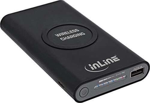 InLine 01477S Qi-Plate Powerbank, 8000mAh, Wireless Charging, induktiv kabellos laden und wiederaufladen, schwarz