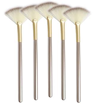 Slim Soft Facial Fan Brush,Makeup Cosmetic Multi Use Mask Acid Applicator for Glycolic Peel Masques,Chemical Peel Brush,Pack of 5